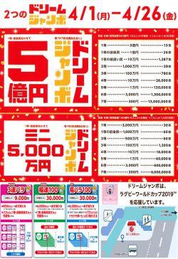チャンスセンター:ドリームジャンボ 4/1(月)~26(金)